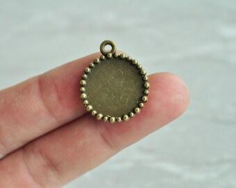25pcs 16mm Pad Antique Bronze Round Cameo Cabochon Base Settings Match PP449