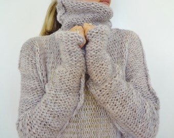 Chunky ,Oversized women knit sweater. Slouchy/Bulky/Loose sweater.  Women knit loose fit sweater.