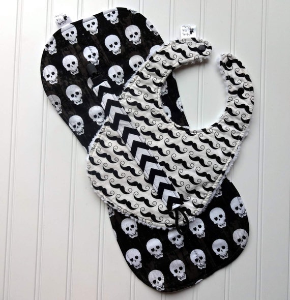 Baby Boy Gift Set - Riley Blake Black and White Chevron, Geekly Chic Skulls and Moustaches- Bib, Burp Cloth, Pacifier Clip