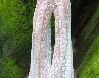 CROCHET LACE boho gypsy festival dance beach 70's  horizontal pattern ivory pants w drawstring