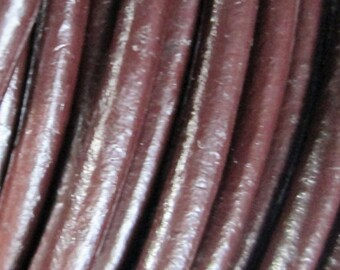 6 feet Brown Natural Leather Cord 3 mm, Natural Leather Cord, Round Leather Cord
