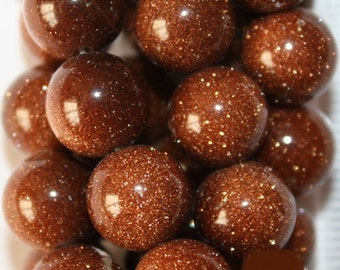 """Goldstone Beads - Round 10 mm Beads - Full Strand 15"""", 38 beads, A-Quality"""