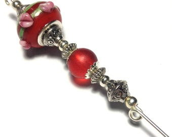 """5"""" Red Glass Bead Hat Pin Vintage Tibetan Antique Silver Style - With Pin Protector (HP2-29)"""