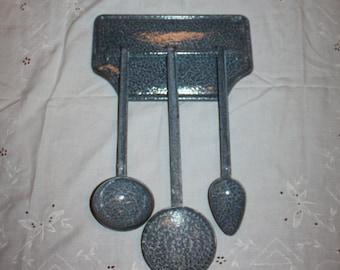 Vintage 4 pc Enamelware Utensil set with matching hanger