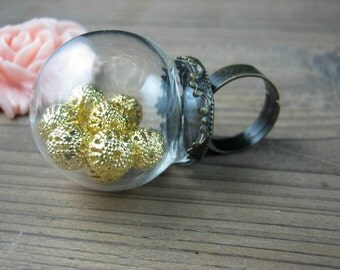 Glass globe vials ring blanks,20mm opening,terrariums rings,unique glass bottle rings kits, adjustable vintage brass blank rings VG5312-20