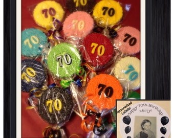 Set of 10 70th birthday or anniversary customized chocolate lollipop favors 30th 40th 50th 60th also available