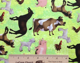 Farm animal Barnyard cotton fabric cow pig donkey horse lamb AF11 LIME green Sewing/Quilting fabric by the yard 100% cotton Free Spirit