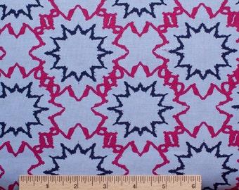 "35"" short yard Design Loft fabric Kaleidoscope Starred PWFS004 Denim Blue Red abstract stars sewing quilting 100% cotton freespirit"