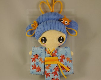 Doll / Kawaii / Geisha / Kokeshi / Japan / Kimono / Fish / Ooak