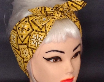 Head Scarf  Yellow Bandana Headband Pinup Vintage Retro Style 50s Rockabilly