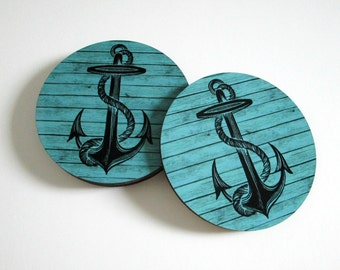 Anchor Coaster Set - Nautical Coasters w/ Anchors - Turquoise Coasters - Nautical Decor - Rustic Beach Decor - Beach Drink Coasters