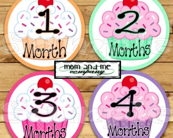 Monthly Baby Stickers for Girls Monthly Milestone Stickers Cupcake Monthly infant Stickers Baby Month Stickers Monthly Stickers Baby Gift
