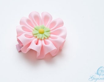 pink ribbon flower hair clip