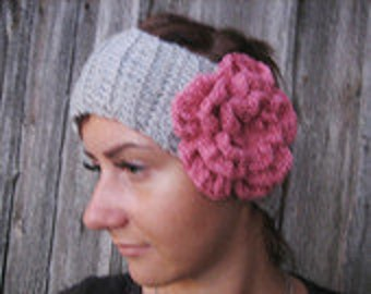 BLACK FRIDAY SALE! Ready to ship! Crochet Headband Flower  Earwarmer Head Wrap Gray Flower Hat Girly Romantic, merino headband
