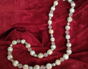Crystal statement necklace,Vintage Czech Republic,early 20th c,White porcelain,Jablonce,Swarovski pearls,Chunky necklace