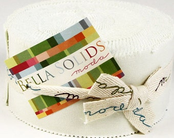 "Moda Jelly Roll BELLA SOLIDS - Porcelain - (40) 2 1/2"" x 44"" strips - Cotton Quilt Fabric - 9900JR-182 (W1338)"
