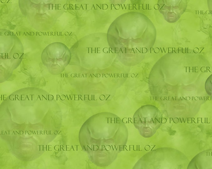 """REMNANT!! Wizard of Oz -Great and Powerful Oz Tossed Heads Green - 19"""" x WOF - Cotton Quilt Fabric - Quilting Treasures (W1714)"""