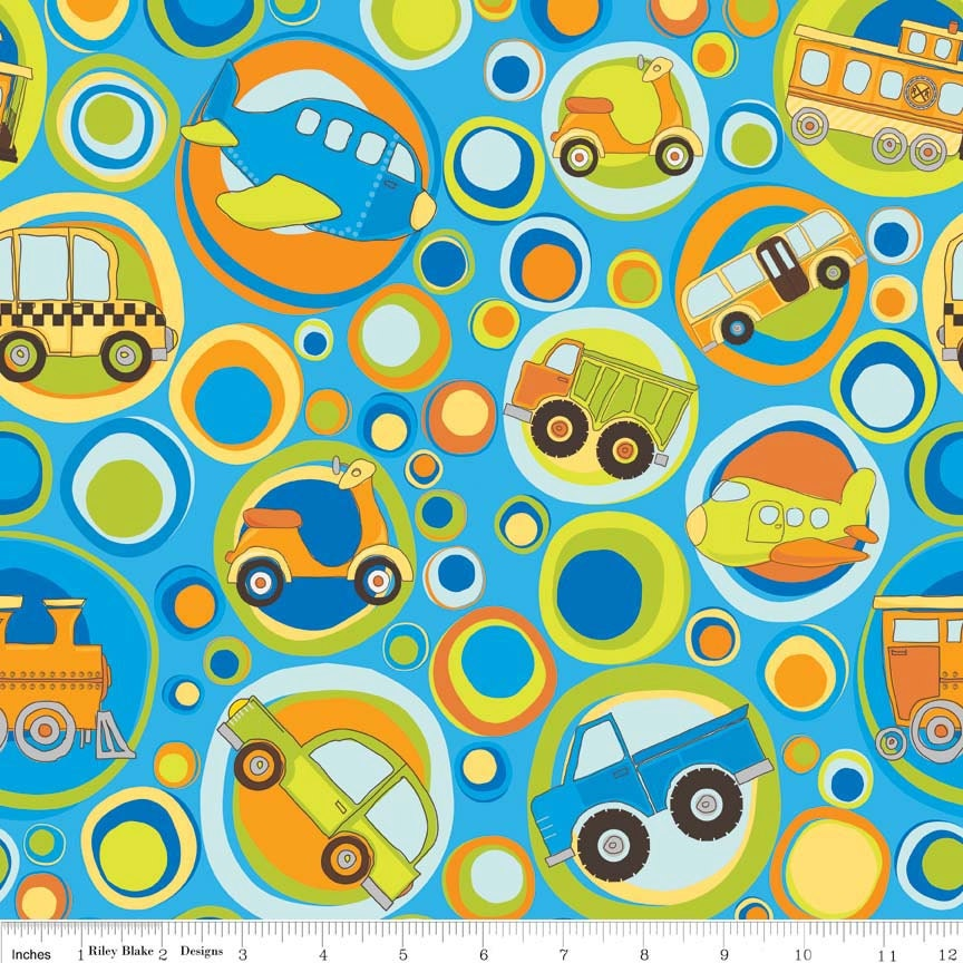 Super clearance one yard on the go main in blue for Little blue truck fabric