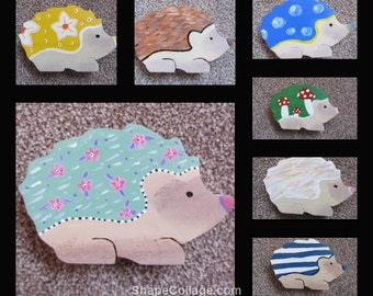 Hand painted decorative wooden hedgehogs