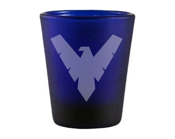Nightwing Blue Shot Glass - Nightwing Inspired Shot Glass - DEEP Etched Nightwing Glass - Geeky Glassed