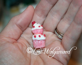 Miniature Handmade Decorated Cupcake with Heart Pendant No.2 Pink Shabby - OOAK
