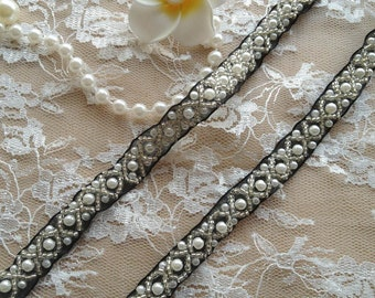 """Beaded Ribbon Trim - Ivory Pearl and Silver Beads Lace Trim on black ribbon 0.47"""" wide 1 yard"""