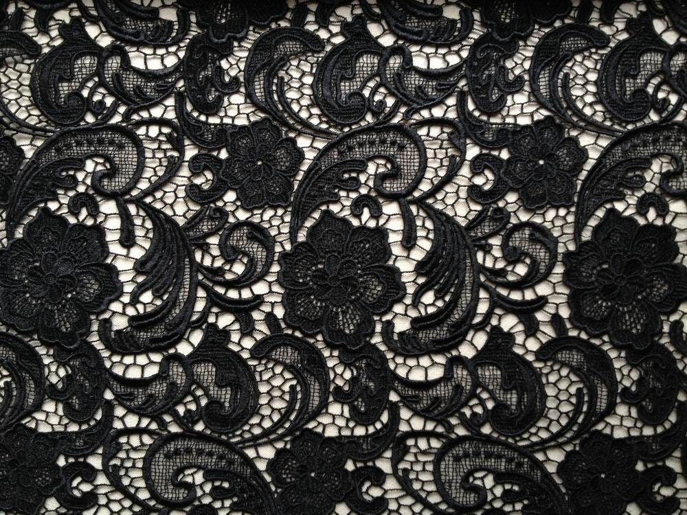 Elegant Venice Embroidered Lace Fabric In Black For Wedding