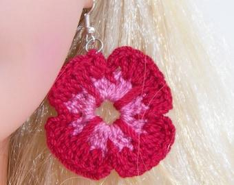 Fancy Pansy - Crochet Earrings - Girls Teens Women - Flower Earrings - Crochet Jewelry - Knitted Earrings - Spring