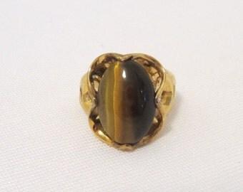 Antique Art Nouveau Sterling Silver Gold Vermeil Tigers Eye Ring Size 5
