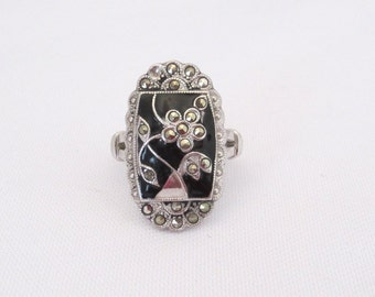 Antique Art Deco Sterling Silver Marcasite & Black Oynx Flower Ring Size 6
