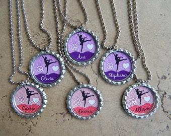 Set of 6 Personalized Ballet Dance Party Favors Bottle Cap Necklaces OR Zipper Pulls - YOU CHOOSE