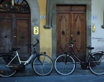 Two Italian Bikes, Bikes, Itay, Doors, italian Bikes, wall art, decor, wine box, gifts, landscapes, blue, wood doors
