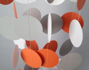 Orange, Gray, White 12 ft Circle Paper Garland- Party Decorations, Birthday, Wedding, Bridal Shower, Baby Shower