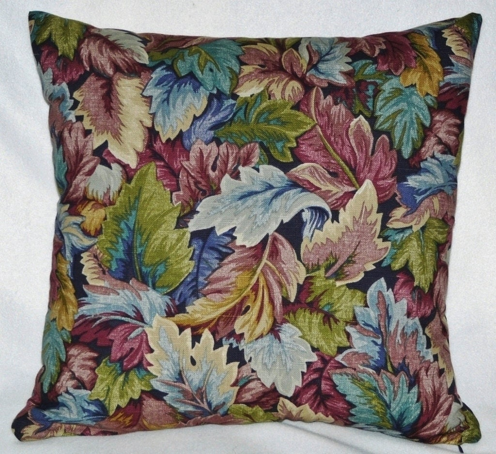 Jewel-toned Decorative 18 inch Throw Pillow Cover/Case Leaves