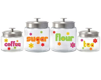 Groovy Flowers Glass & Metal Canister Set