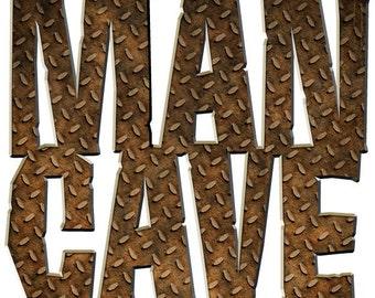 Man Cave Rusty Diamond Plate Wall Decal #44271