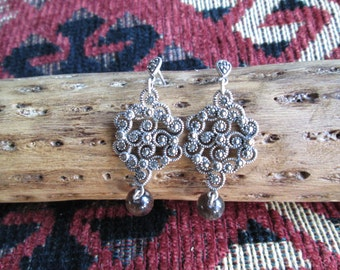 Ornate Sterling Silver Earrings with Marcasite and Smokey Quartz