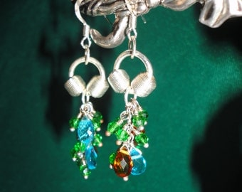 Hand Crafted Silver Plated Faceted Lucite Earrings.