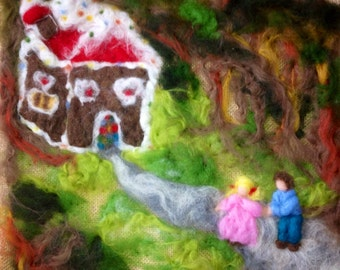 """Painting on jute and wool carded Tale """"Hansel and Gretel"""", Waldorf style."""