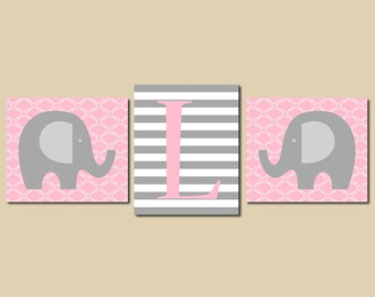 Kids Wall Art Elephant Nursery Art Pink Gray Grey Personalized Initial Monogram  Set of 3 Prints Baby Girl Decor Playroom Picture