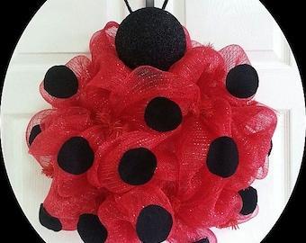 Ladybug Wreath, Spring Wreath, Summer Wreath, Deco Mesh Wreath, Bright Color Wreath, Door Hanger, All Seasons Wreath, Ladybugs, Door Decor