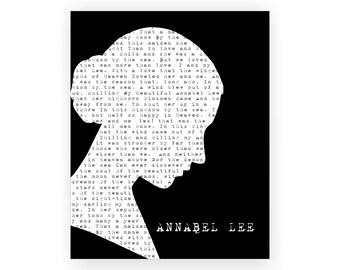Edgar Allan Poe 'Annabel Lee' Poetry Poem 5x7, 8x10, 11x14 Typography Black & White Art Print Wall Decor