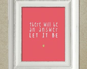 beatles art print / let it be lyrics
