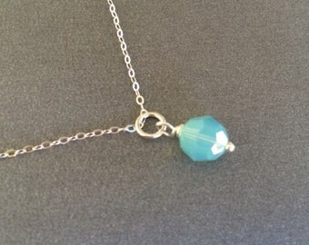 Aqua Mint Silver Necklace, Sterling Silver Aqua Necklace, Delicate, Sterling Silver Chain