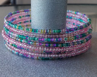 Multi-Color Pink/Green Memory Wire Cuff Bracelet