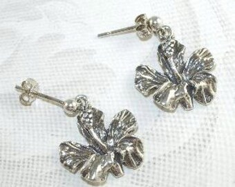 925 Sterling Silver Hibiscus Earrings