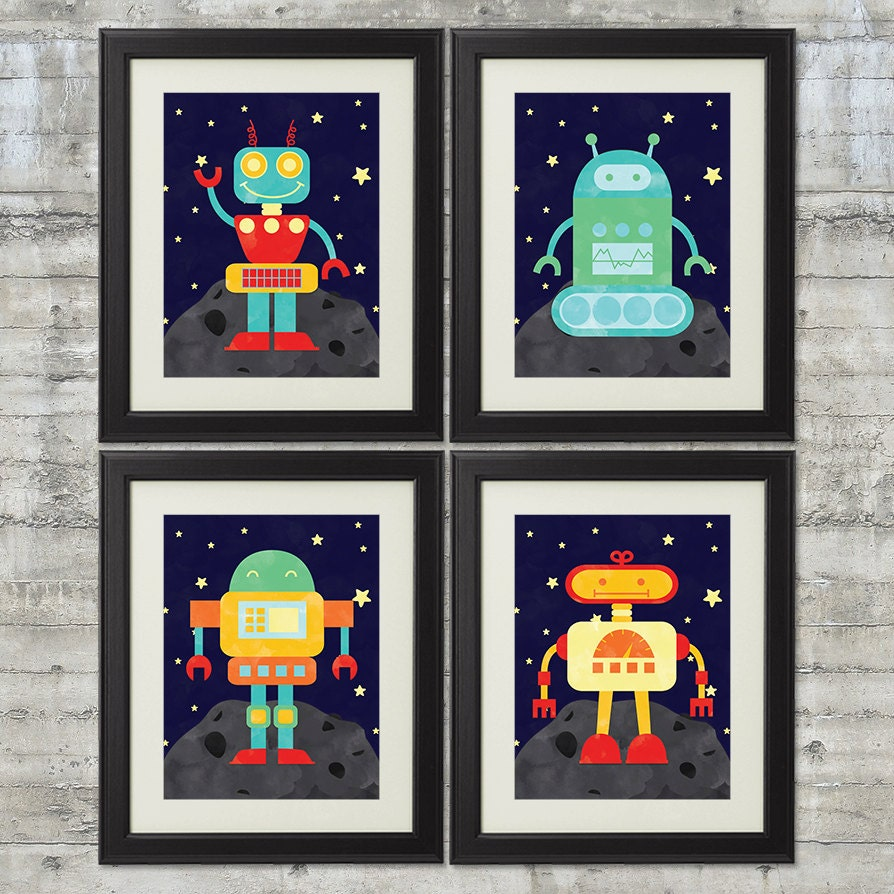Robot Nursery Art Robots In Outer Space Nursery Art Set Of