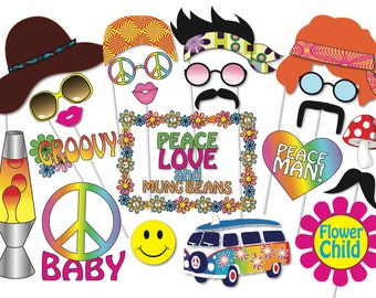Hippie Party Photo booth Props Set - 24 Piece PRINTABLE - 60s - 70s party  decorations