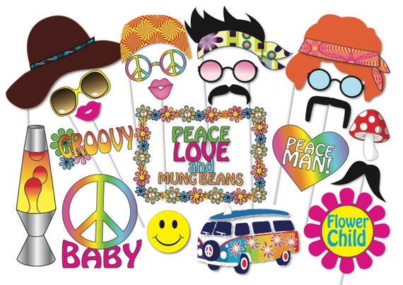 Hippie party photo booth props set 24 piece printable 60s for 60s decoration ideas party