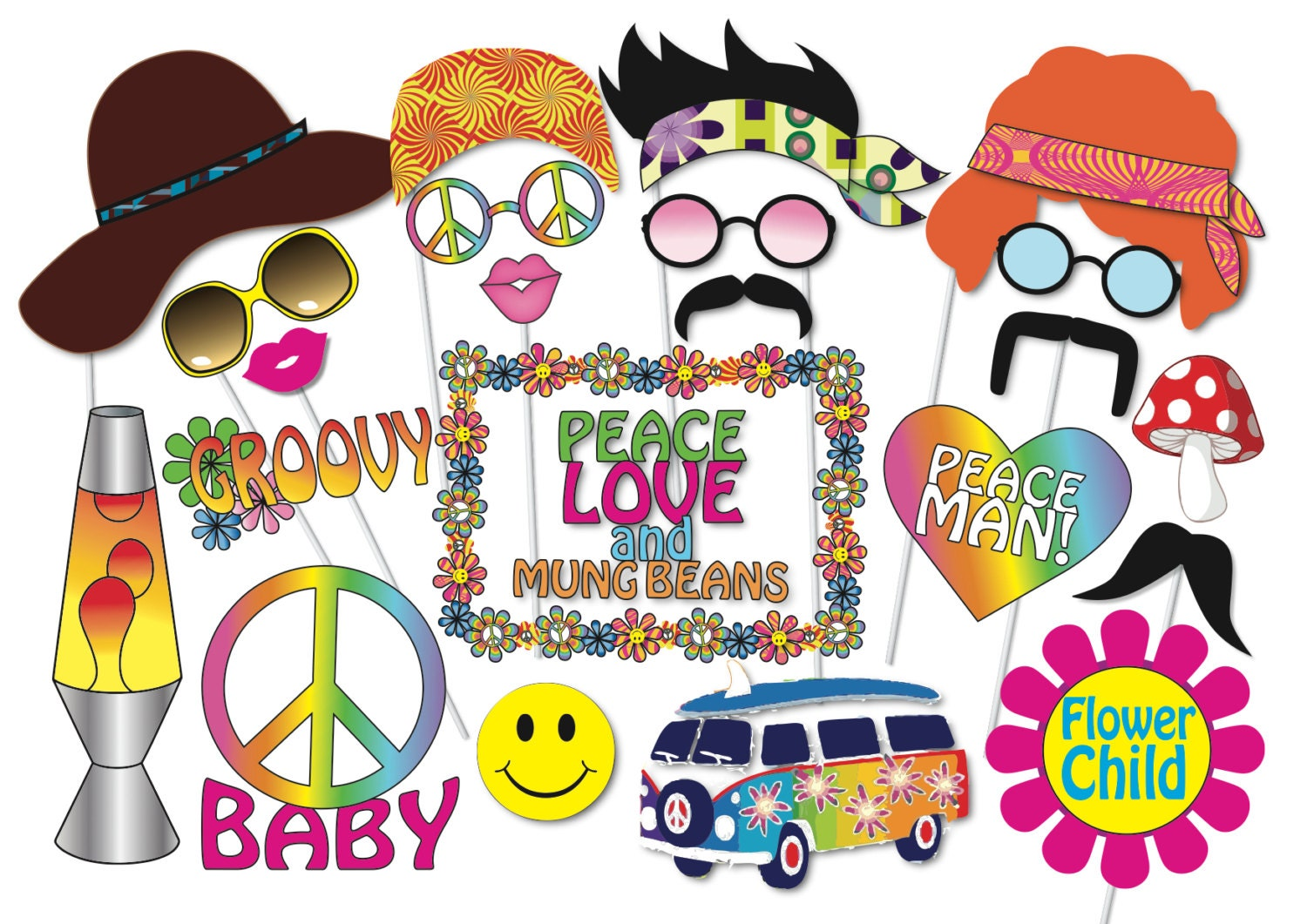 Hippie party photo booth props set 24 piece printable 60s for 70s decoration